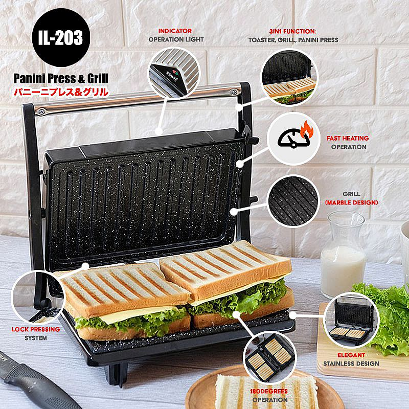 IDEALIFE - Panini Press / Toaster – Pemanggang Roti/Daging - IL–203